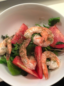 Farmer's Market Greens, Tomato, Shrimp, Lemon Juice and Dill